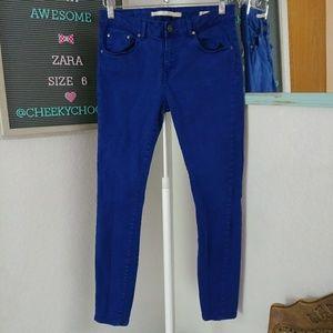 Zara woman premium denim slim fit royal blue jeans